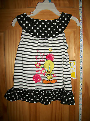 LOONEY TUNES Baby Clothes 24M Infant Girl Outfit TOP Tweety Bird Polka Dot Dress