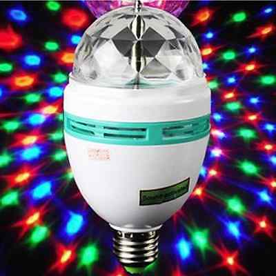 1Pcs 3W Rotary Colorful Crystal LED Bulb Domestic Stage Lighting White