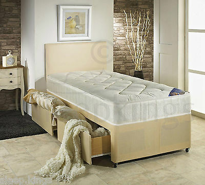3Ft Single Divan Bed Cream With Quilted Mattress + Storage For Adults And Kids