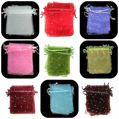 10 Pcs Organza Gift Bags Randomly Mixed Colours Favour Weddings 120mm x 100mm ML