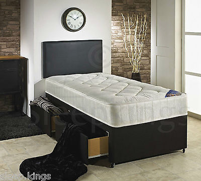 3Ft Single Divan Bed With Quilted Mattress + Storage Option For Adult And Kids