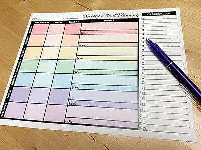 52-pack Weekly Meal Planning pages with Grocery Lists - Meal Planner pages