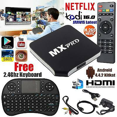 New Quad Core MX Pro Android 4.4 TV Box Fully Loaded KODI XBMC Free Live Movies