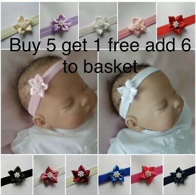 Baby Girls Flower baby headbands girls headband satin flower with faux pearls