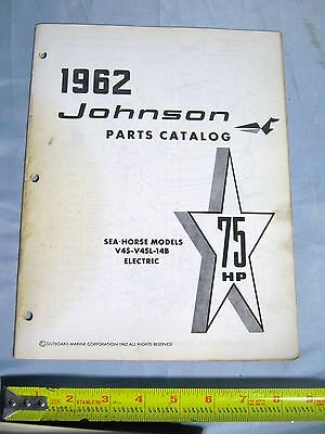 1962 Johnson 75 HP Sea Horse V4S-V4SL-14B Electric Boat Motor Parts Catalog