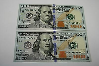2 New Uncirculated Hundred Dollar Bills Two $100 Dollar Notes  2009 A Richmond