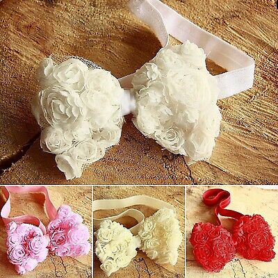 Christmas Girl Baby Headband Hair band Chiffon Rose Bow Wedding Lace Flower