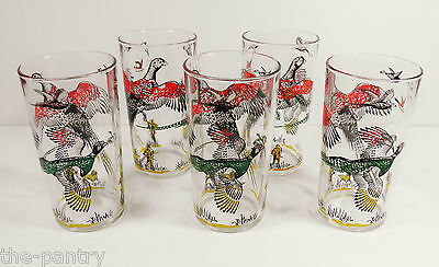 VINTAGE LOT OF 5 HAZEL-ATLAS PHEASANT BIRD HUNTING DRINKING GLASSES  10OZ VGC!