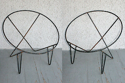 2 Vintage Wrought Iron Modern Hoop Chair Frames. Frederick Weinberg Style. RARE!