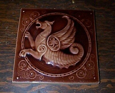 rare antique KENSINGTON Dragon Tile 6x6