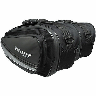 Tech 7 Black Expandable Throw Over Panniers Saddlebags Motorcycle Luggage