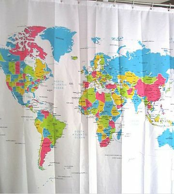 World Map Waterproof Polyster Shower Curtain