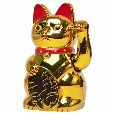Chinese Lucky Waving Gold Cat Figure with Moving Arm in Colourful Box Feng Shui