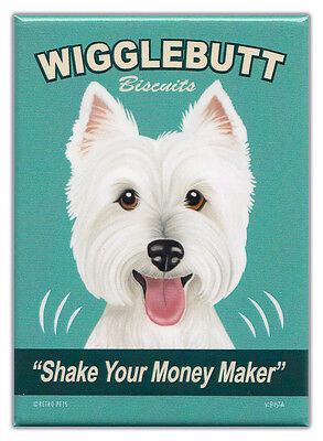Retro Dogs Refrigerator Magnets: WESTIE | BISCUITS | Vintage Advertising Art