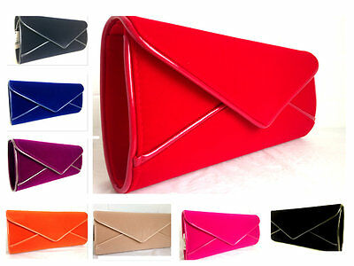 New Red Nude Royal Blue Navy Blue Purple Fuschia Faux Suede Evening Clutch Bag