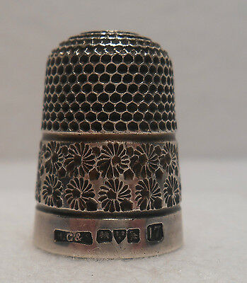 *Antique~British~Sterling Silver Thimble made by HG&S for Chester 1912
