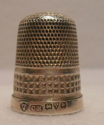 *Antique~British~Sterling Silver Thimble by Charles Horner for Chester 1912