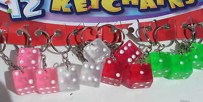 DICE KEYCHAIN LOT OF 12 CARNIVAL, FESTIVAL, PARTY TOY FAVORS
