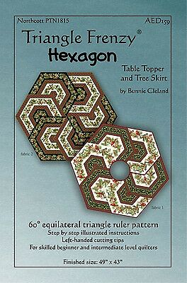 Triangle Frenzy Hexagon Table Topper / Tree Skirt Quilt Pattern Bunnie Cleland