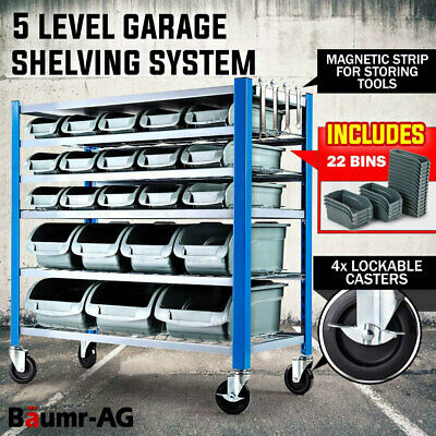 BAUMR-AG Mobile Garage Storage 22 Bin Parts Rack - Shelving Workshop Wheels