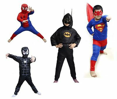 New Spiderman Batman Superman Kids Boys Costume For Party Cosplay Halloween
