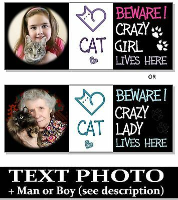 Beware Crazy CAT Girl LADY Funny Plaque Sign house door wall bowl food scratcher