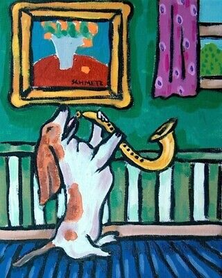 Basset hound saxophone dog signed art print animals impressionism 8x10