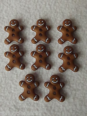 DRESS IT UP BUTTONS ~ CHRISTMAS ~ 8 CUTE GINGERBREAD MEN (Iced Cookies)