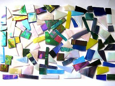 100g Mixed Iridised off Cut Mosaic Pieces. Odd shapes & sizes.  Arts & Crafts