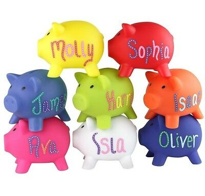 PERSONALISED PIGGY BANK - Money Box For Saving Coins & Cash Fun Gift Plastic New