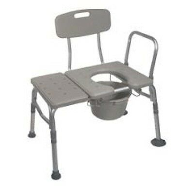 Bath Shower Transfer Bench with Commode Opening - Weight Capacity 400lbs