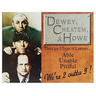 Three Stooges Lawyers Metal Sign