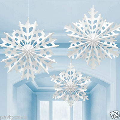3 Christmas Large Snowflake Ceiling Paper Fans Hanging Decoration Frozen Party