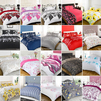 Duvet Quilt Cover Bedding Set All Colours Single Double King Size SuperKing Size