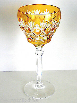 BOHEMIAN JOSAIR amber yellow gold cased cut to clear crystal wine goblet
