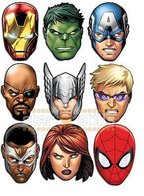Marvel THE AVENGERS Card Party Face Masks ULTIMATE SET of 9 Iron Man Hulk Thor!