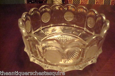 Fostoria clear glass round bowl, frosted coins Liberty Bell /Revolut Soldier[3]