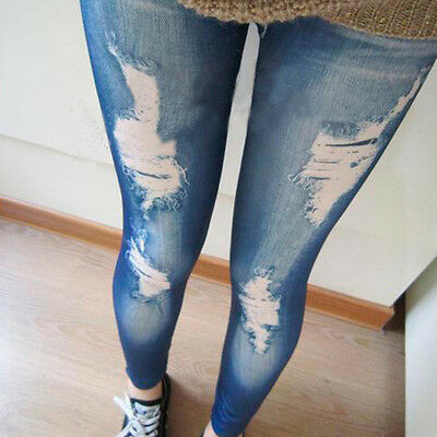 Women Fashion Skinny Stretchy Sexy Ripped Pants Soft Tights Jeggings