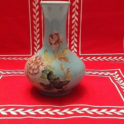 "7-1/2"" Asian Blue Floral Vase Maker's Mark Very Good Cond. Lovely"