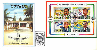 TUVALU 1998 INDEPEND Prime Ministers Stamps MINI SHEET FIRST DAY COVER RE:CK93