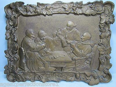 Antique 1800s Cast Iron Tavern Scene Artwork Plaque ornate high relief self frm