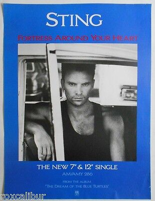 STING Fortress Around Your Heart Rare Original Official UK Record Company POSTER