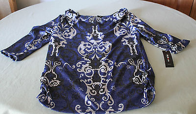 Style & Co Ladies 3/4 Sleeve Empire Scroll Blouse (large) NEW