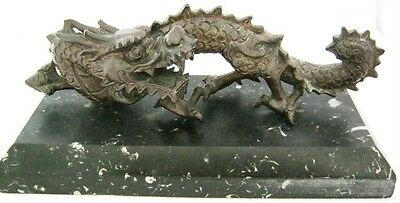 C19th Chinese Bronze Dragon with Flaming Pearl of Wisdom on Marble Base.