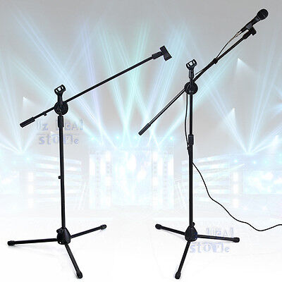 Telescopic Boom Microphone Stand Adjustable Mic Holder Tripod Two Clip 1 to 2 M