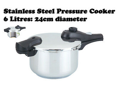 24cm 6 L Litre Stainless Steel Kitchen Pressure Cooker Catering Induction Cook