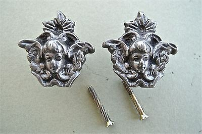 A Pair Of Antique Style Angel Cast Iron Furniture Knob Drawer Door Handle Wh46