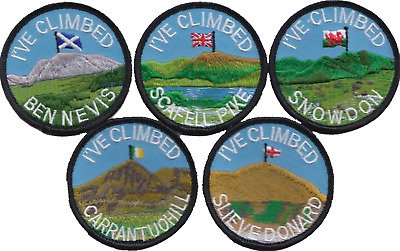 The Five Peaks Challenge Snowdon Ben Nevis Scafell Pike Embroidered Patch Badge