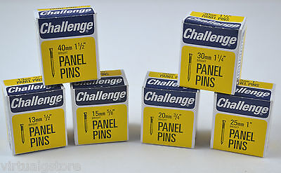 Panel pins - by Challenge - all sizes bright steel - Boxed