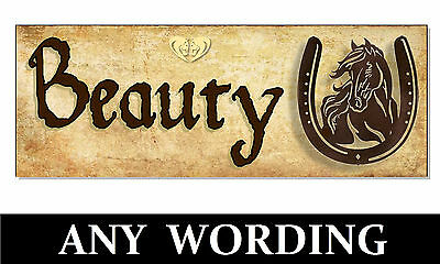 Personalised Name HORSE PONY Rustic Vintage Sign Plaque Stable door tack room